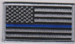 American Flag with Grey Border/blue line