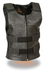 Ladies Black Leather Replica Bullet Proof Style Vest SH1367LZ