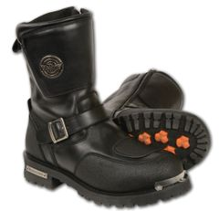 Men's Leather Strap Motorcycle Boots w/Gear Shift Protection MBM9070