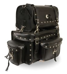 Two Piece Studded Tourning Pack Sissy Bar Bag