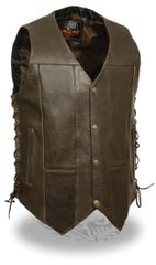 Men's Retro Brown 10 Pocket Side Lace Vest ML1391RT