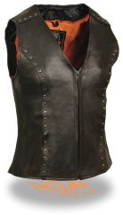 Womens Leather Motorcycle Vest - Studded Detailing ML2078