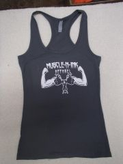Womens Dark Grey Racerback Tank (front and back)