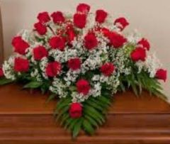 Red Rose Casket Spray (2 dozen)