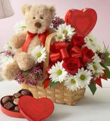 "Valentine's ""Flowers,Bear & Candy "" Basket"