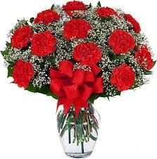 Dozen Carnations in Vase (Choose Color)