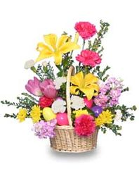 Easter Spring Basket Arrangement