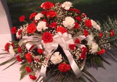 Casket Spray Red & White Carnations