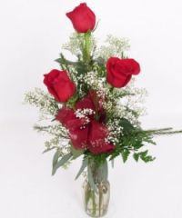 Valentine's 3 Red Roses in Vase