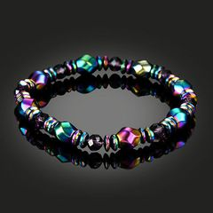 HEMATITE Rainbow BRACELET Stretchy EMF absorbing Magnetic