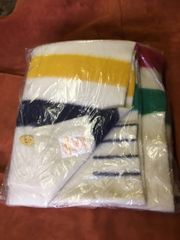 Blanket- Hudson Bay 4 Point Wool, White with Multi Stripes