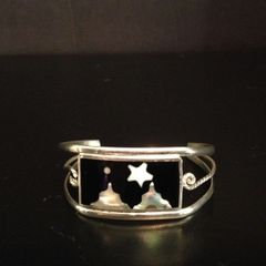 Vintage Taxco Silver Cuff Bracelet With Abalone Inlay