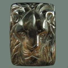 Hand Carved Pendant of a Lion's Head - African Turquoise/Jasper