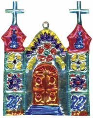 Mexican Painted Tin Church Ornament