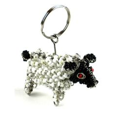 Hand-Beaded Sheep Key Ring/Zipper Pull