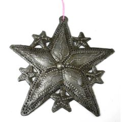 Multi-Star Christmas Ornament Crafted from Recycled Oil Drum