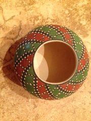 Mata Ortiz Seed Pot in Red and Green Geometric