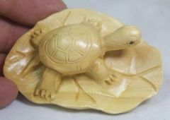 Netsuke: Turtle Basking on Lily Pad