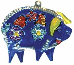 Painted Mexican Tin Ornament of a Psychedelic Pig!