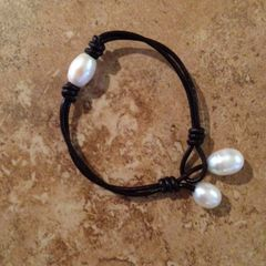 Leather and Pearl Bracelet - Elegance Meets BoHo...Beautifully!