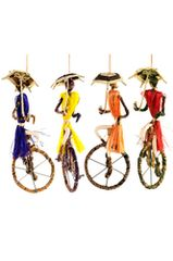 Sisal Ornament - Women Unicycling with Sun Protection!