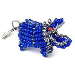 Hand Beaded Hippo Key Ring/Zipper Pull