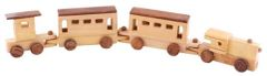 Hand-Carved Wooden Toy Train Set