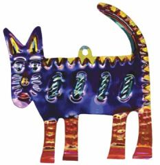Mexican Painted Tin Cat Ornament - Meow!