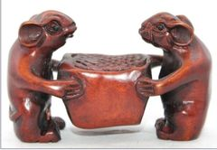 Netsuke: Two Hard-Working Mice!