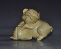 Netsuke: Pig With A Peach!