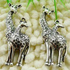 Tibetan Silver Charm/Pendant of Giraffe and Baby