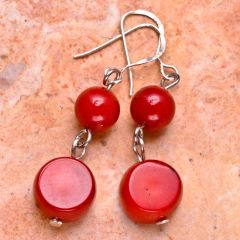 Red Coral Earrings - Two Drop