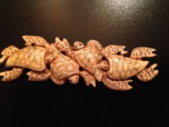 Carved Bone Pendant - Sea Turtles