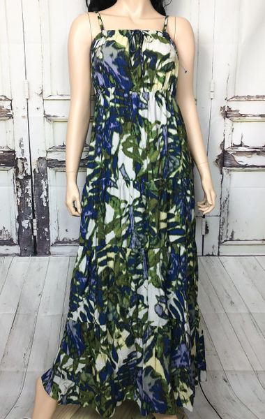 707402c815aaf Tiered Dress Sz Medium Tie Dye Maxi Sun New York Company Greens Blues Ivory.