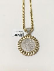 10KT Solid Yellow Gold Franco Chain With Real Diamond Round Dog Tag Charm, 34079