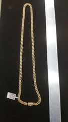 10KT Solid Gold .Miami Cuban Diamond Necklace ( Chain)