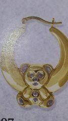Lady hoop earrings solid yellow Gold 10 K ,.m.