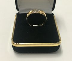 10KT Solid Yellow Gold, Real Diamond Man Rings, E190