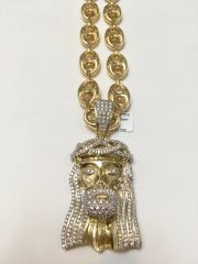 10KT Solid Yellow Gold Gucci Link Chain With Real Diamond Jesus Face Charm, 117316