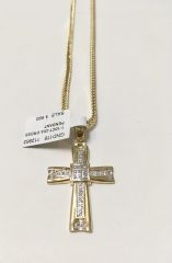 10KT Solid Yellow Gold Franco Chain With Real Diamond Cross Charm, 112983