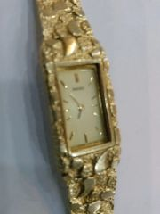 10 K solid Women nugget Watch bracelet SOLD yellow Gold
