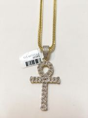 10KT Solid Yellow Gold Franco Chain With Real Diamond Cross Charm, 34129