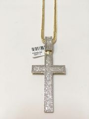 10KT Solid Yellow Gold Franco Chain With Real Diamond Cross Charm, 111892