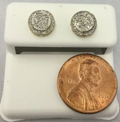 10K Circular Yellow Gold Round White Diamond VS1 Earrings