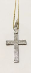 10KT Solid Yellow Gold Franco Chain With Real Diamond Gold Cross Charm