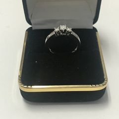10KT Solid White Gold, Real Diamond Lady Rings, E209