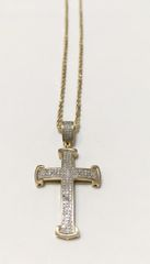 10KT Solid Yellow Gold Rope With Real Diamond Cross Charm, E0771
