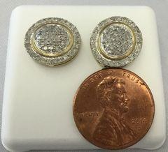 10K Yellow Gold Circular Round White Diamond VS1 Earrings