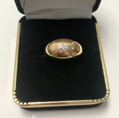 14KT Solid Yellow Gold, Real Diamond Man Rings, E194