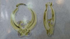 Lady hoop earrings solid yellow Gold 10 K ,.b.